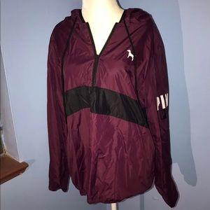 VS PINK Maroon Anorak Windbreaker Jacket Sz XS